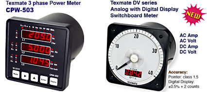 Texmate 3phase Power Meter CPW-503 & Dual View analog meter with Digital display DV series